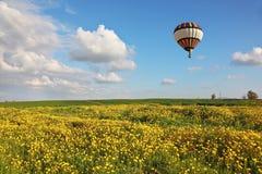 En ballong över fältet Royaltyfri Foto