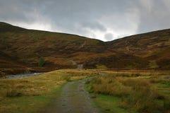 En bana som leder upp sidan av en munro i Skottland royaltyfri fotografi