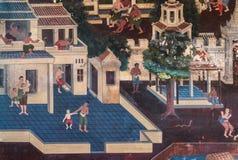 2014 en Bangkok, Bangkok, TAILANDIA - 5 de mayo: Mural tailandés antiguo Imagen de archivo libre de regalías