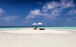 En bank i Maldiverna Arkivbild