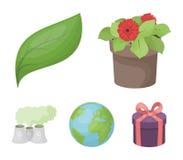 En bearbetningsanläggning, blommor i en kruka, ett grönt blad, en planetjord Bio och fastställda samlingssymboler för ekologi i t royaltyfri illustrationer