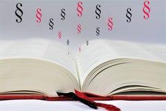 En begreppsbild av en öppen bok med abstrakta avsnitt Royaltyfri Fotografi