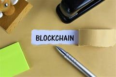 En begreppsbild av en Blockchain logo med kopieringsutrymme Arkivfoton
