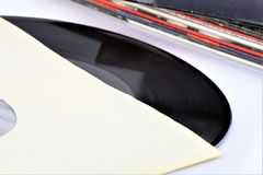 En begreppsbild av ett vinylrekord - lp, tappning Royaltyfria Bilder