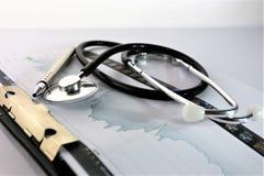 En begreppsbild av en medicinsk skrivplatta med det olika diagram och scenariot Arkivfoton