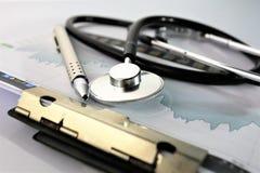 En begreppsbild av en medicinsk skrivplatta med det olika diagram och scenariot Arkivbilder