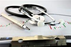 En begreppsbild av en medicinsk skrivplatta med det olika diagram och scenariot Royaltyfri Bild