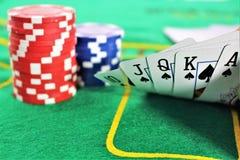 En begreppsbild av en pokerlek, kasino Arkivbilder