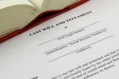 En begreppsbild av en sist skallr och testamentet arkivbilder