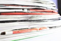 En begreppsbild av en tidning, nyheterna, tidskrift, information Royaltyfri Fotografi
