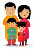 En beröm för nytt år för traditionell kines, lycklig familj royaltyfri illustrationer