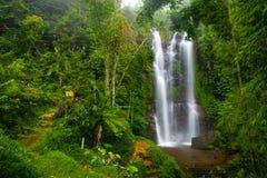 En berömd Munduk vattenfall i en tropisk djungelö av Bali, Indonesien Royaltyfri Fotografi