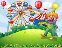 En bergstopp med en clown och ett nöjesfält stock illustrationer