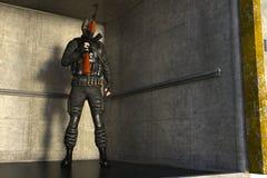 En beväpnad man i militär likformig och maskering Royaltyfria Bilder