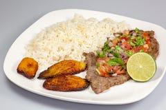 En biff som täckas i pico de gallo som omges av pisang och vita ris på en vit platta kubansk mat arkivbild
