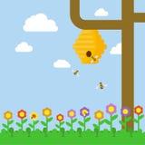 En bikupa med bin på ett träd Fält av blommor också vektor för coreldrawillustration Arkivbild