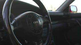 En bil av en röd färg av märket Audi stock video