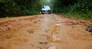 En bil klibbade i den hala grusvägen, medan det regnade i skogen royaltyfri fotografi