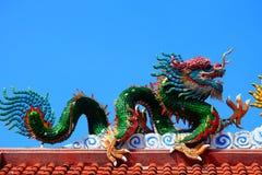 En bild av draken på en taköverkant av drakekinestemplet royaltyfri foto
