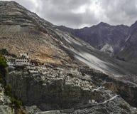 En bild av en kloster i den Leh staden i Ladakh, Indien Arkivbild