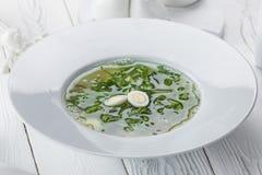 En bild av en grönsaksoppa i en vit bunke arkivfoto