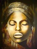 En bild av en kvinna med hennes ögon som stängs i guld-färgade färger vektor illustrationer
