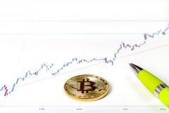 En bild med ett bitcointecken Royaltyfri Fotografi