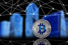 En bild med ett bitcointecken Arkivfoto