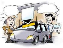 En bilförsäljare och en kund royaltyfri illustrationer