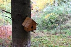En Birdhouse i snowen Royaltyfri Foto