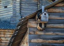 En Birdhouse i snowen Arkivfoto