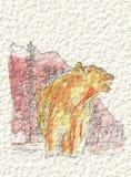 En björn i bergen i vattenfärg och färgpulver Royaltyfri Bild