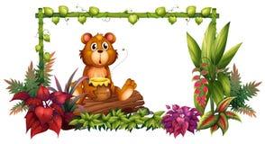 En björn ovanför en stam i trädgården royaltyfri illustrationer