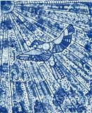 En blå fågel med solen Royaltyfri Bild