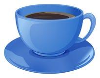 En blå kopp med kaffe royaltyfri illustrationer
