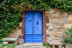 En blå och sliten dörr med den gröna murgrönan över på stenväggarna av fotografering för bildbyråer