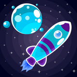 En blå raketklistermärke med lilaband och blåa hyttventiler Royaltyfria Foton