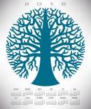 En blå trädkalender för 2016 runda stock illustrationer