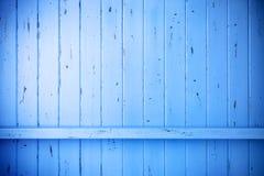 Blått målad Wood lantlig bakgrund Arkivbilder