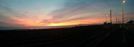 En Blackpool solnedgång Arkivfoto