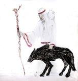 En blind gamal man med en vit galande på hans skuldror och en personal går med en svart varg Varghandbok royaltyfri bild