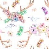 En blom- vattenfärgillustration med hornen på kronhjort, de flätade ihop suckulenterna, blommorna, sidorna och filialerna Royaltyfri Fotografi