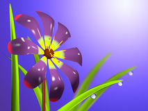 En blomma med sidor och droppar stock illustrationer