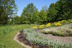 En blomsterrabatt i parkera Royaltyfri Bild