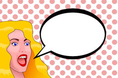 En blond ung kvinna med blåa ögon med en förvånad framsida och öppnar munnen stock illustrationer
