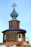 en bois blanc de la Russie de permanente de montagne de chapelle Images stock