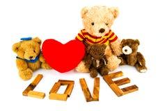 ` En bois d'AMOUR de ` de mots fait à partir des lettres matérielles naturelles Fond de Valentine Photographie stock
