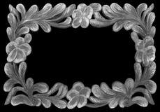 En bois gris de cadre d'isolement sur le fond noir Images stock