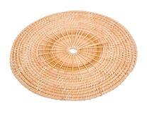 En bois en osier de panier en bois dans la vue faite main de 45 degrés Images stock