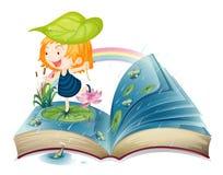En bok med en bild av en flicka på dammet stock illustrationer